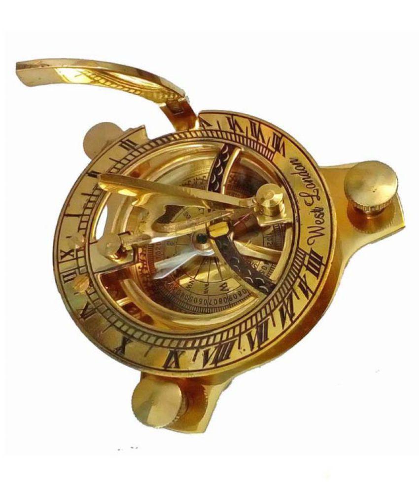 3 Inch Brass Golden Sundial Compass. Sun Clock