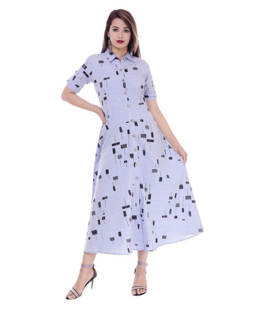 CUEGAL Cotton Blue A- line Dress