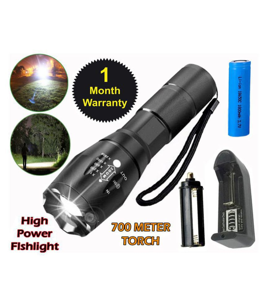 700mtr Rechargeable 5 Mode LED WaterproofLED Torch 15W Flashlight Torch 5 Mode LED Zoomable - Pack of 1