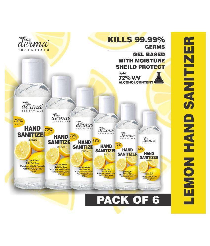 TRUE DERMA ESSENTIALS Lemon, 72% IP Alcohol Hand Sanitizer 110 mL Pack of 6