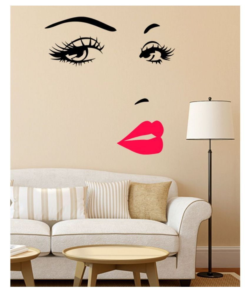 HOMETALES Girl's Face With Pink Lips Sticker ( 120 cm x 125 cm)