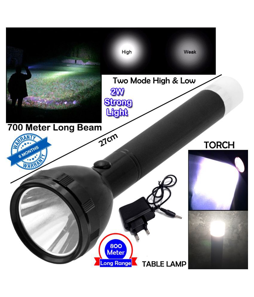 J SUPER 2in1 700M Range Long Beam 2 Mode Waterproof Chargeable LED 2W Flashlight Torch Emergency Table Lamp - Pack of 1