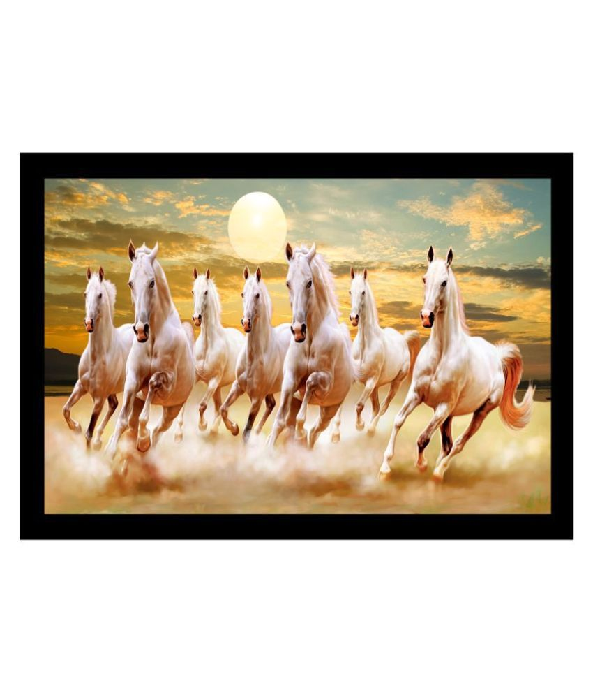 KALARKARI 7 running horses canvas painting size 14 in x 20 in Canvas Painting With Frame