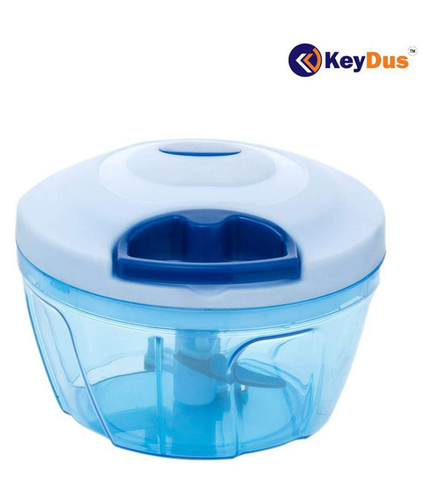 KeyDus Handy Dori Chopper with 3 Blades for Chopping of Fruits and Vegetables (Blue, 5.5 Inches) (450 ML)