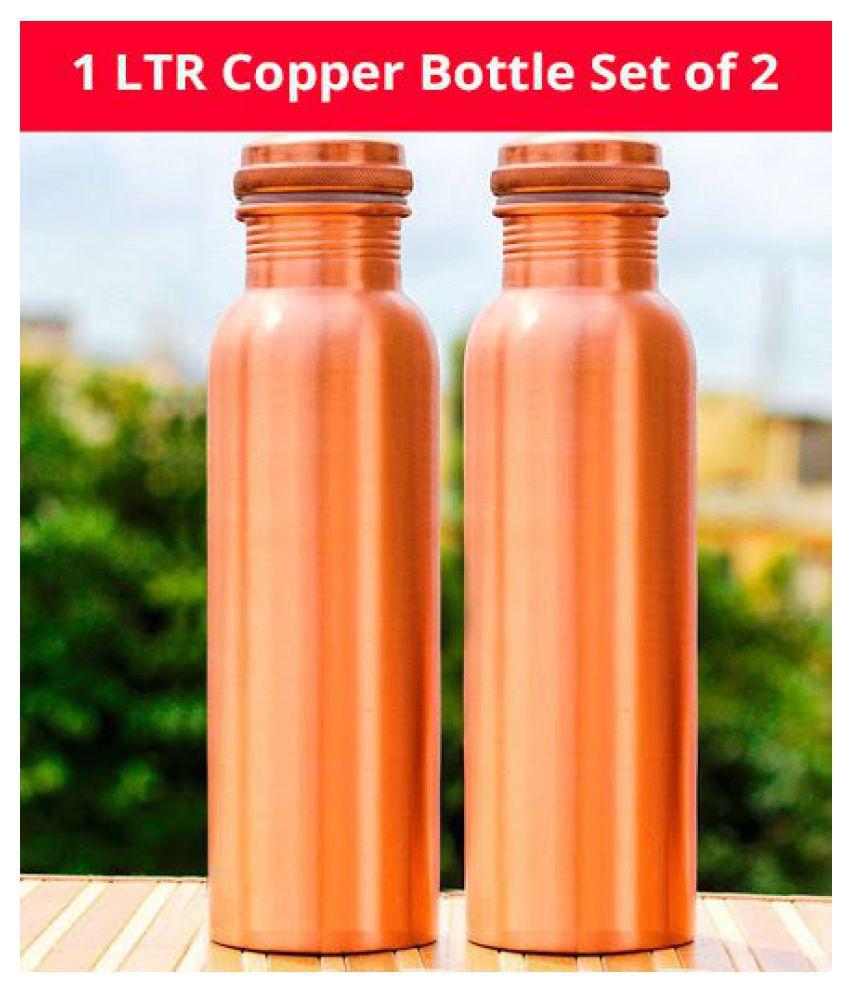 Emerge World Best Copper 1000 mL Brass Copper Water Bottle set of 2