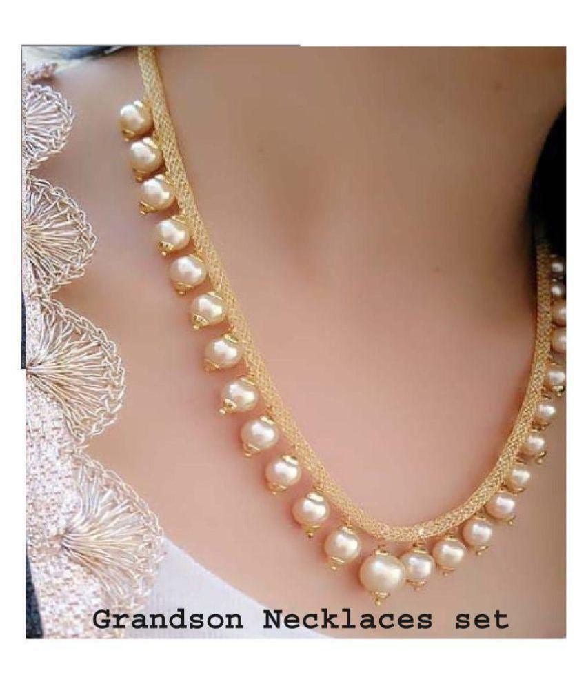Grandson Alloy Golden Designer Gold Plated Necklaces Set