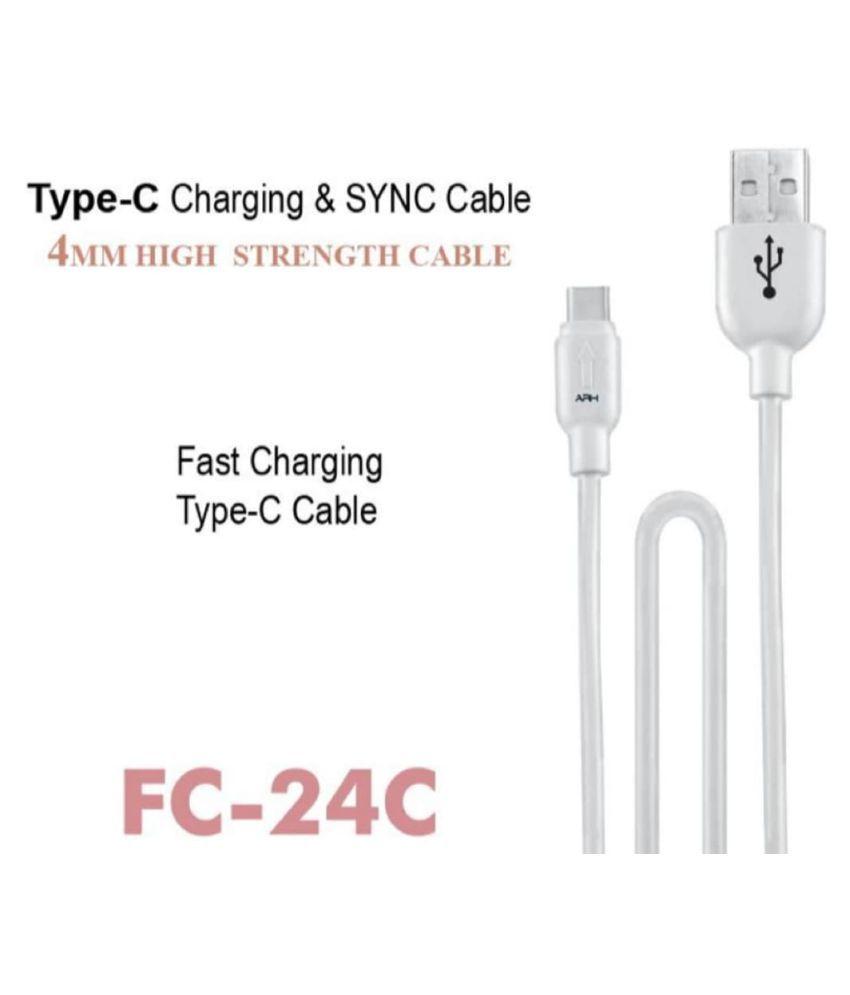 Premium  FC-24C Single Pin Type C Data / Charging Cable (1 m, White)