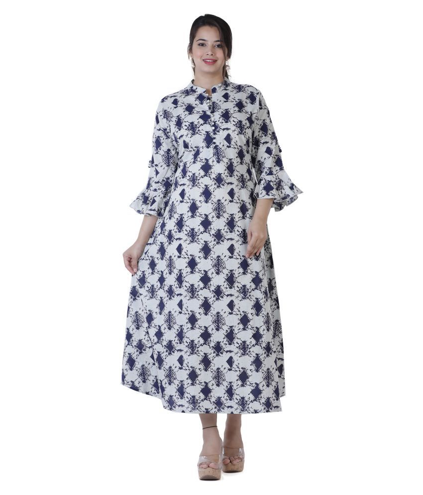 JC4U Cotton Navy Fit And Flare Dress