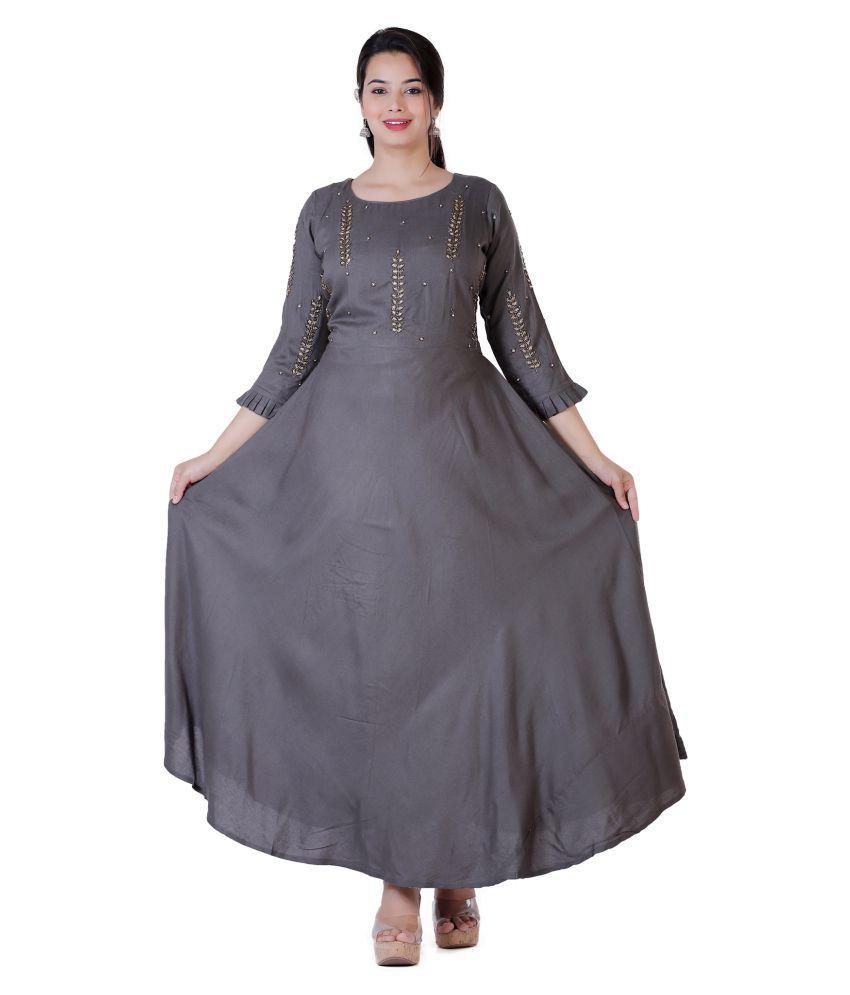 JC4U Rayon Grey Fit And Flare Dress