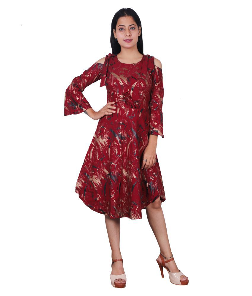Miss N World Poly Crepe Maroon Fit And Flare Dress