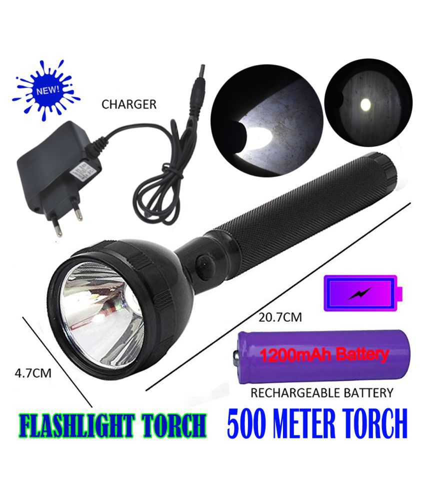 TM 2 Mode 500 Meter Long Beam Waterproof Chargeable LED Torch Metal Home,Outdoor 2W Flashlight Torch Emergency Light - Pack of 1