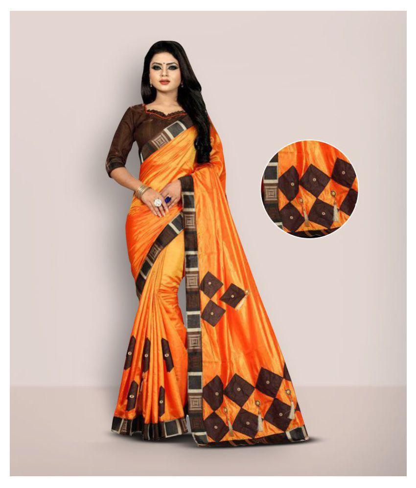 Ofline Selection Orange Brown Poly Silk Saree