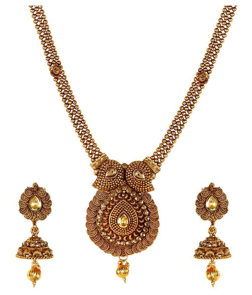 Jewels Gold Gold  Plated Kundan Traditional Party Wear & Wedding Cary Shape & Jhumki Erring Pendant Set For Women & Girls