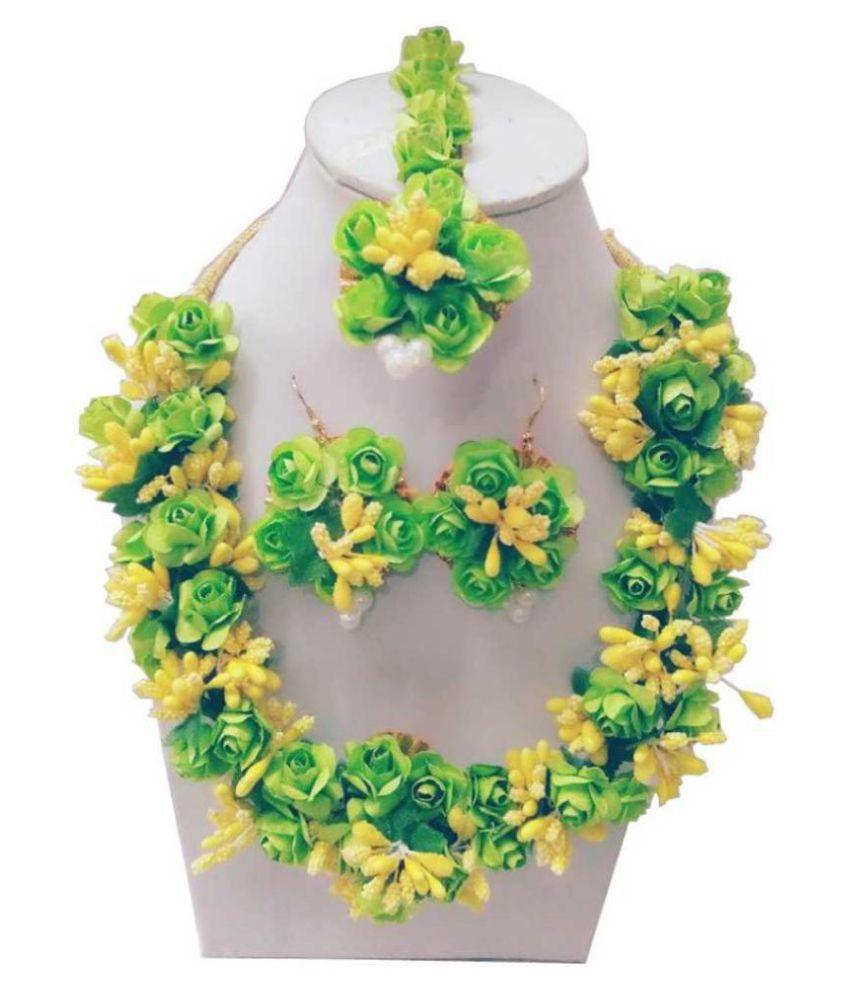 LAMANSH Flower Jewellery Set For Haldi,Mehendi Artificial Floral Jewelry Set For Women Bridal Jewellery Set For Wedding&Engagement