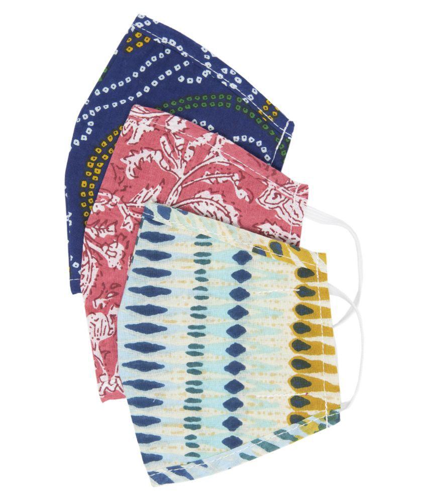 Myshka Unisex Printed Reusable Pack of 3 Outdoor Masks