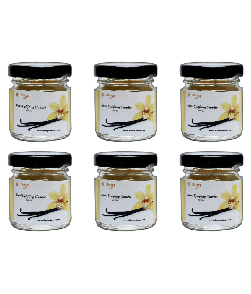 Floryn decor White Jar Candle - Pack of 6