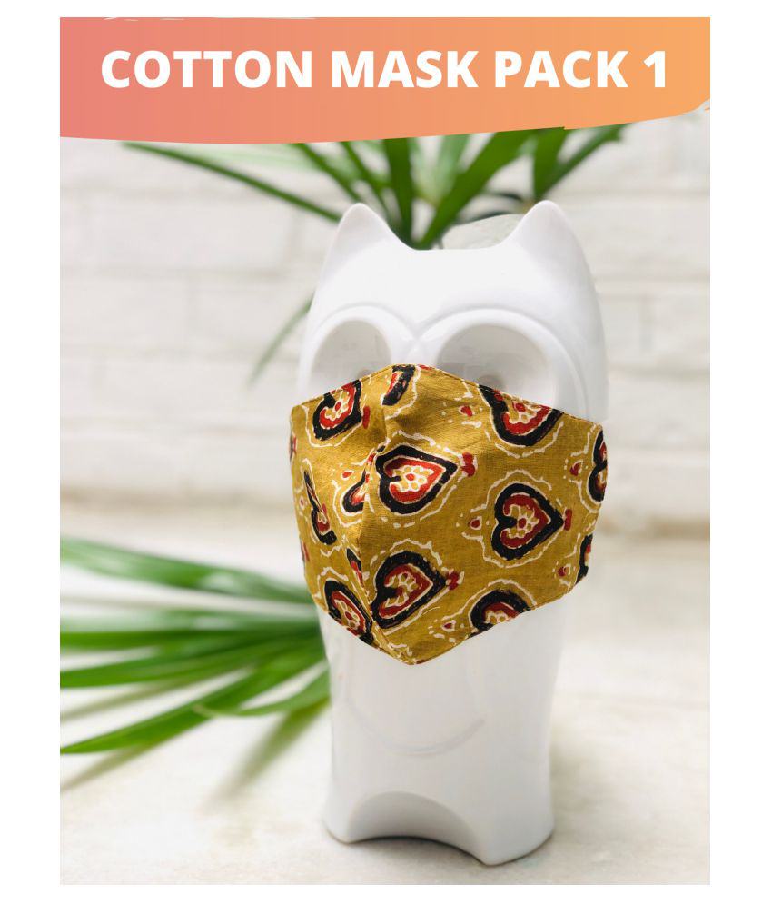 Gnist Gnist Cotton printed mask Yellow pack1