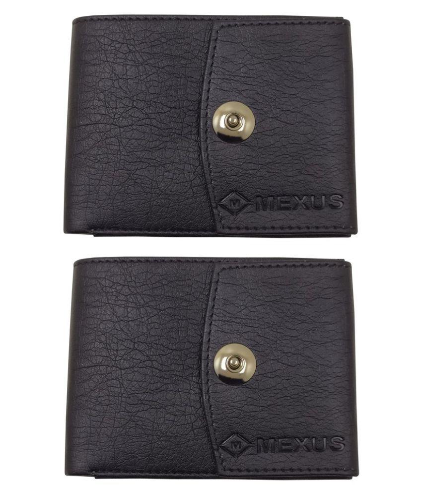 MEXUS PU Black Casual Regular Wallet