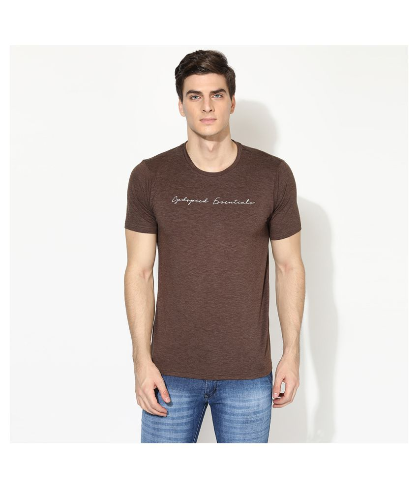V2 Cotton Viscose Brown Solids T-Shirt