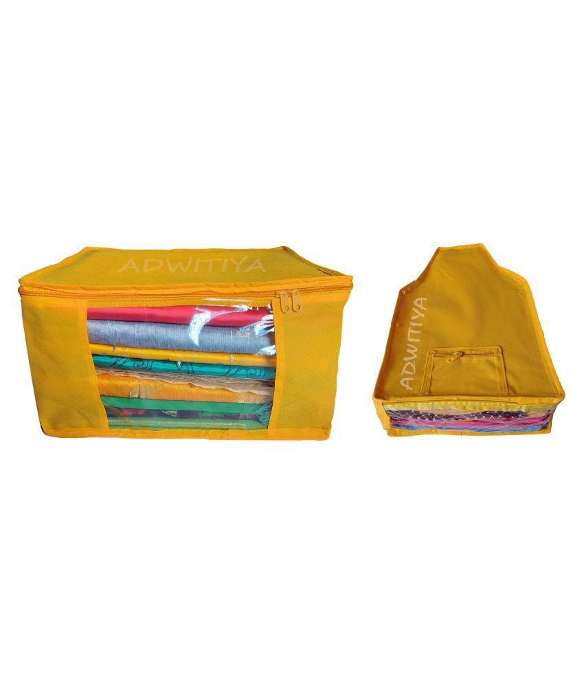 ADWITIYA   Combo   Plain Nonwoven 1 Pcs Saree and 1 Pcs Blouse Storage Organizer Cover Case   Yellow