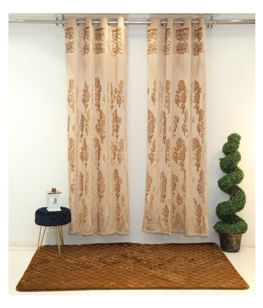 Florance Set of 2 Door Ring Rod Polyester Curtains Beige