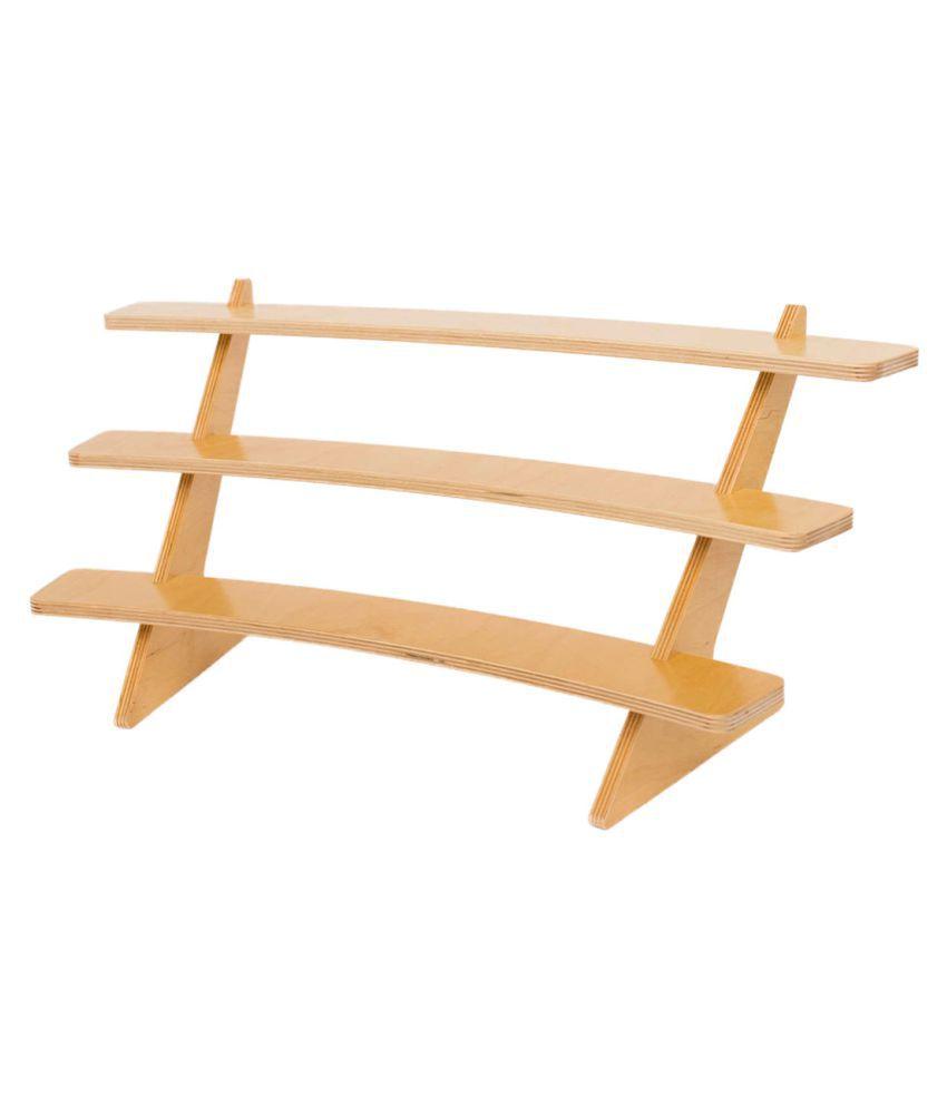 AmericanElm Multipurpose Curved 3 Tiered Storage Shelf, Wooden Racks,