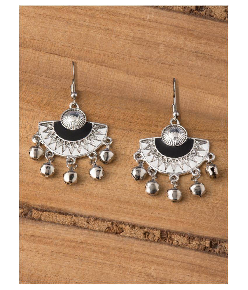 E2O Classic Black Dangler Silver-Toned Contemporary Earrings