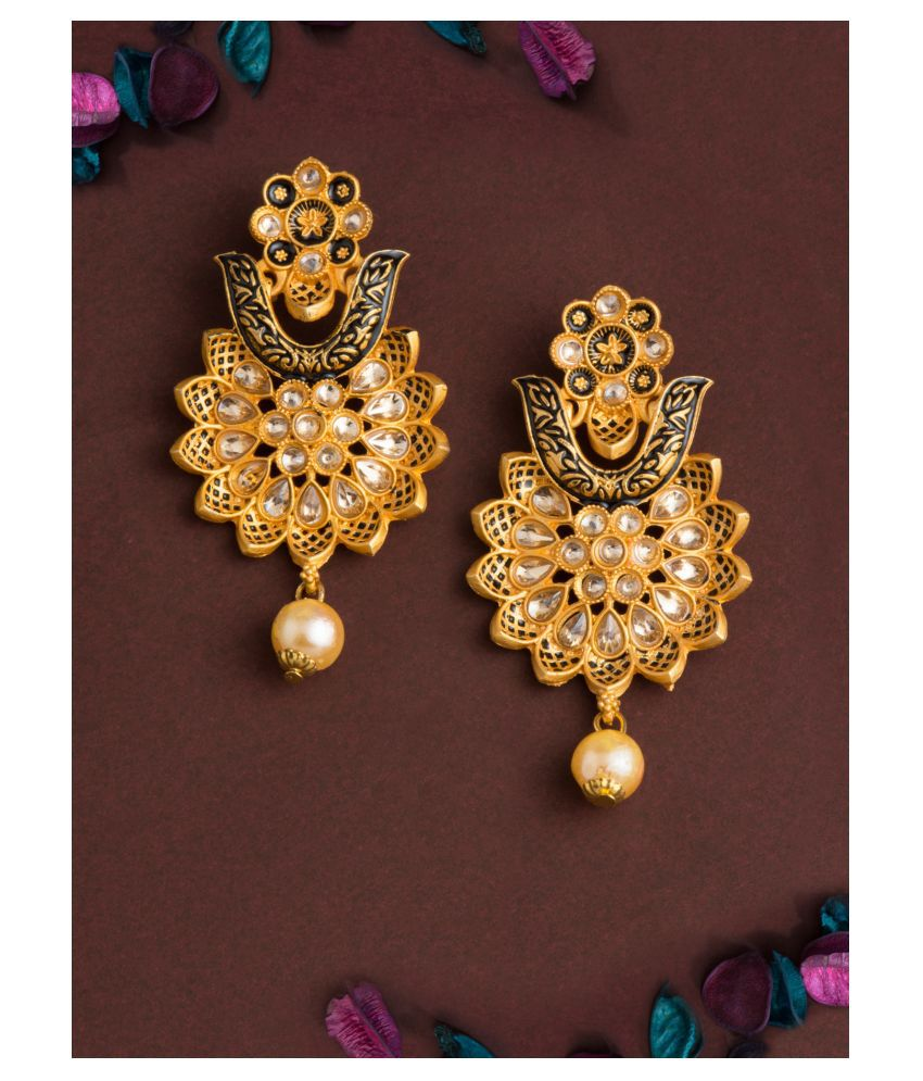 E2O Classic Blue Drop Gold Plated With studed Floral Earrings