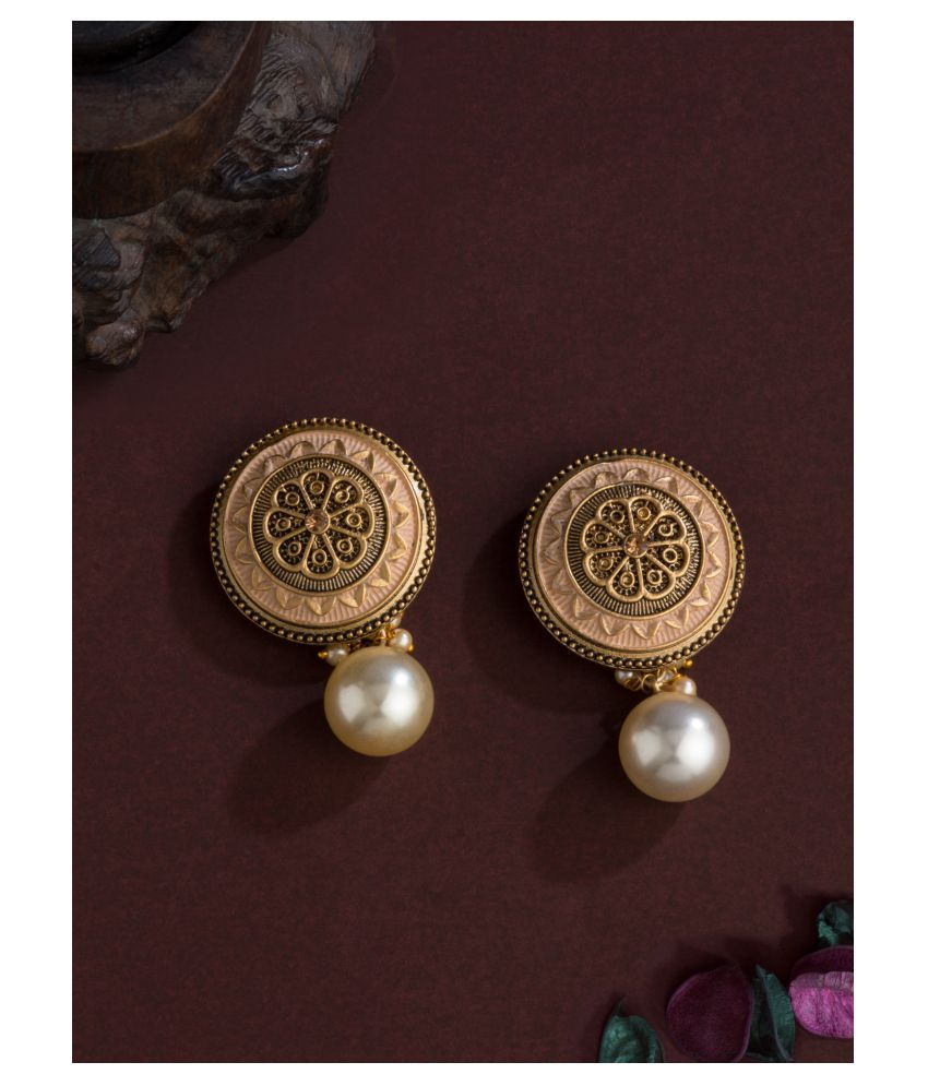 E2O Classic Peach Drop Gold Plated With studed Floral Earrings