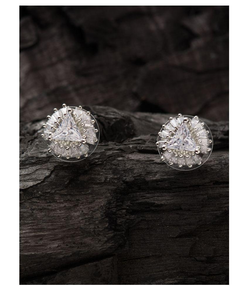 E2O Classic white stud rhodium plated Stone Earrings