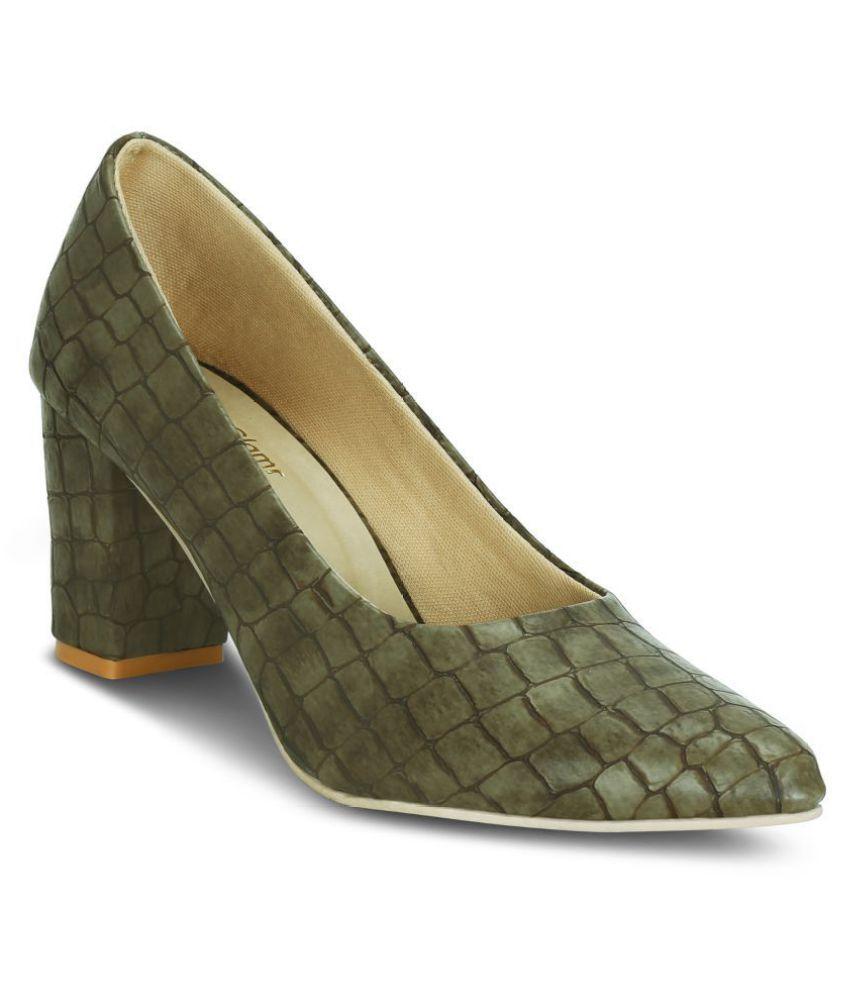 Get Glamr Olive Block Heels