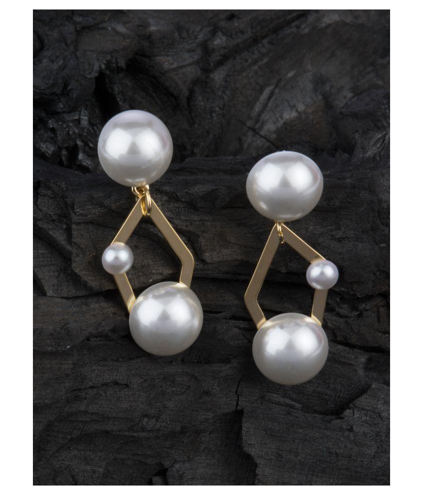E2O Pearl Drop Gold Tone Earring