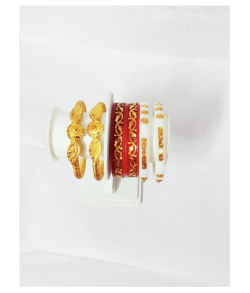 Parmar Micro gold plated Combo shakha pola bangles regular use