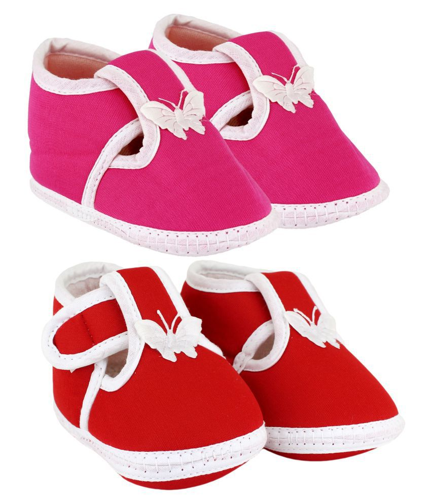 Neska Moda Unisex Set Of 2 Booties For 6 To 12 Months (Pink,Red)