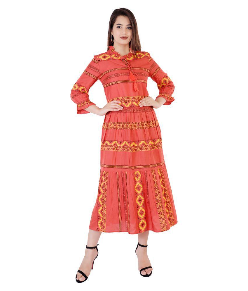Rawaaz Rayon Red Regular Dress