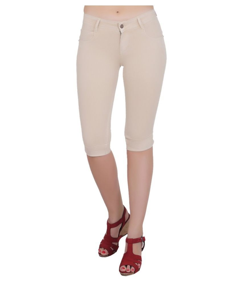 FORTH Beige Cotton Lycra Solid Capri