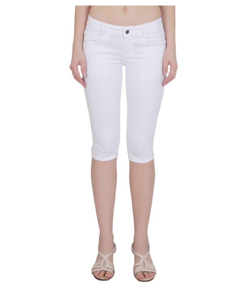 FORTH White Cotton Lycra Solid Capri