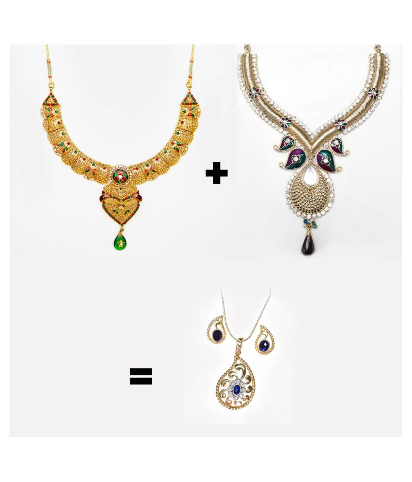 Abhiroopa Alloy Golden Choker Traditional Gold Plated Necklace set Combo