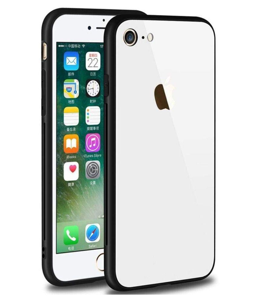 Apple iphone 7 Glass Cover Gemesha   White TPU Bumper Back Case