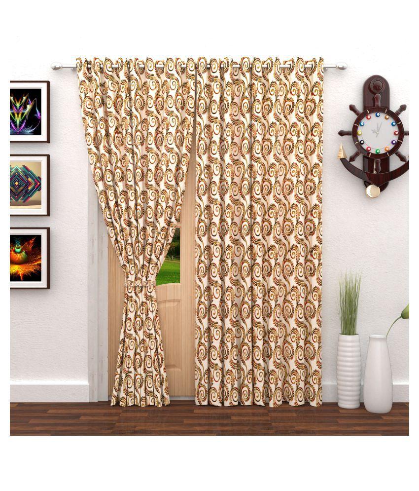 Bedspun Set of 2 Door Eyelet Polyester Curtains Beige