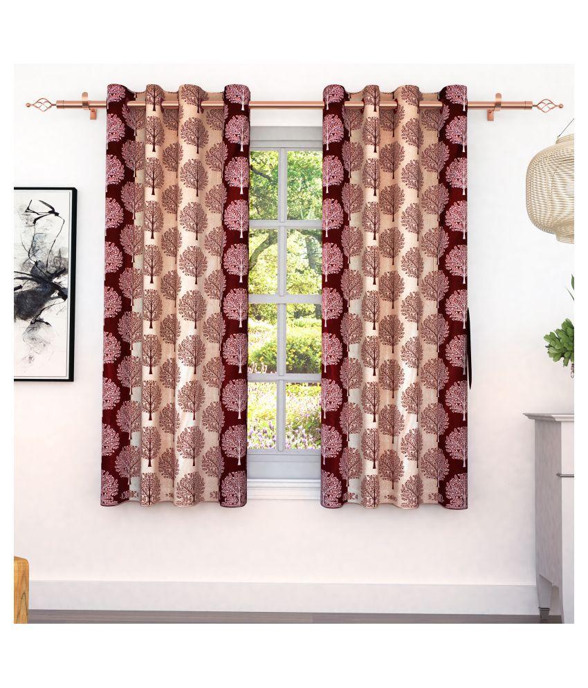 Bedspun Set of 2 Window Eyelet Polyester Curtains Maroon