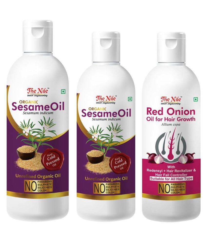 The Nile Sesame Oil 150 ML +  Sesame Oil 100 ML + Red Onion 100 Ml 350 mL Pack of 3