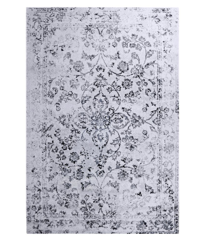 Obsessions White Polypropylene Carpet Floral 5x8 Ft
