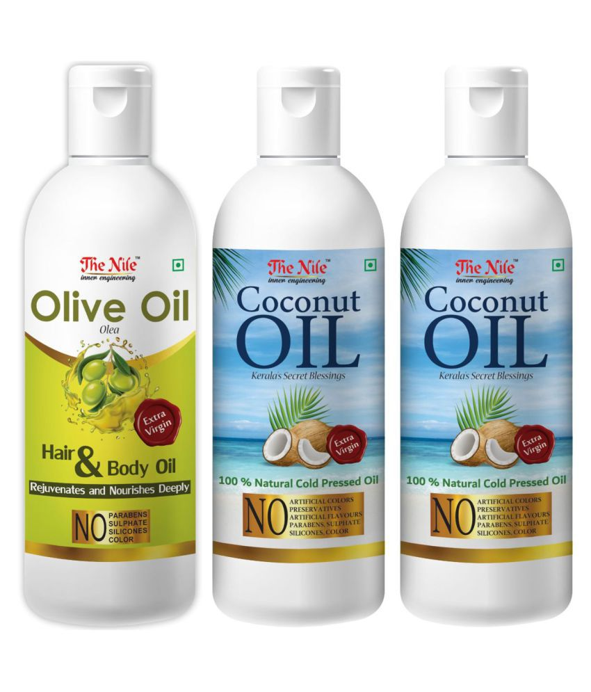 The Nile Coconut Oil 100 Ml X 2 + Olive Oil 100 ML 300 mL Pack of 3