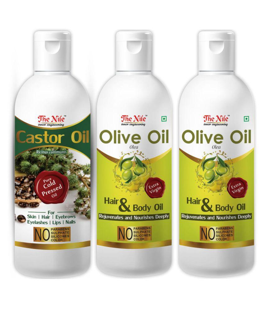 The Nile Olive Oil 100 ML X 2 + Castor Oil 100 Ml 300 mL Pack of 3