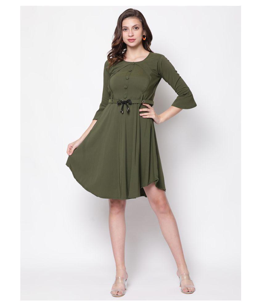 V2 Cotton Green Shift Dress