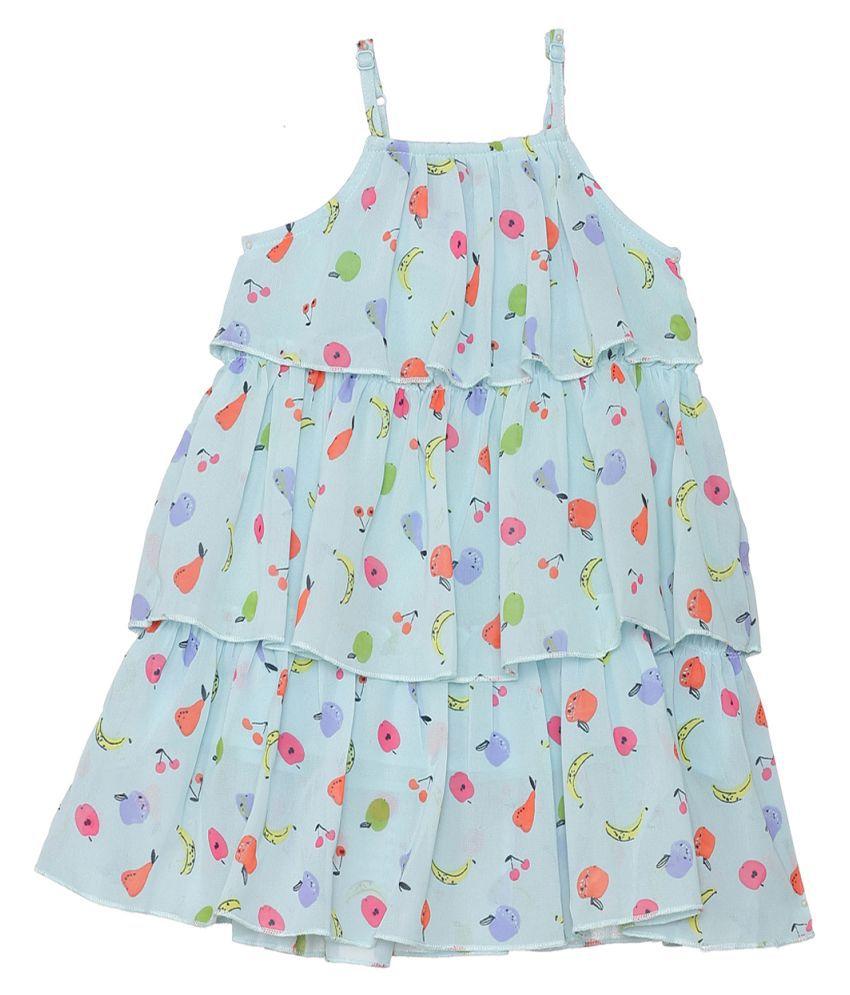 2Bme Infant Girls Printed Blue Dress