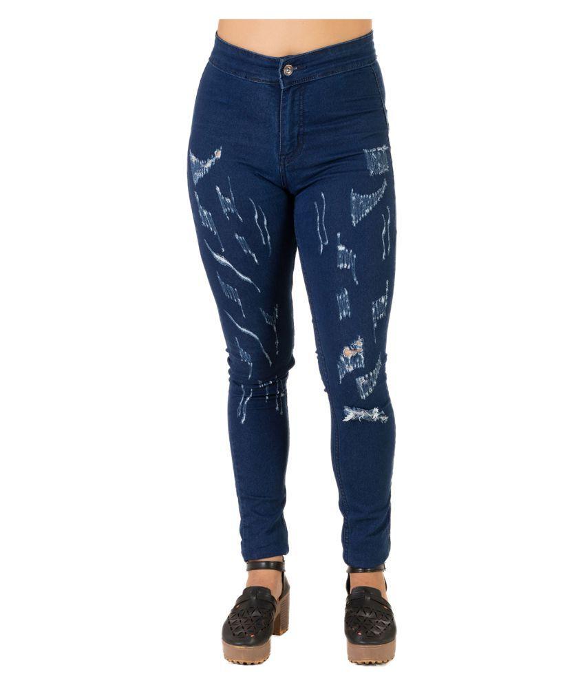 Leean Patterns Denim Jeans - Blue