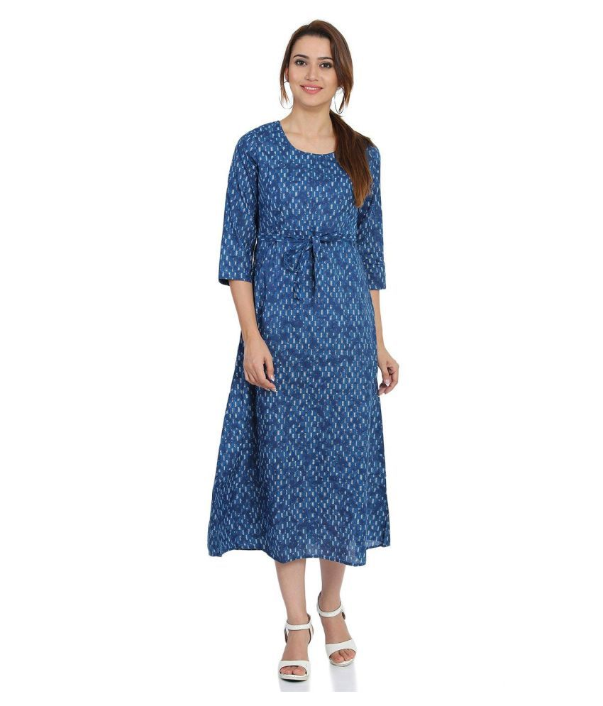 Rangriti Cotton Blue Fit And Flare Dress