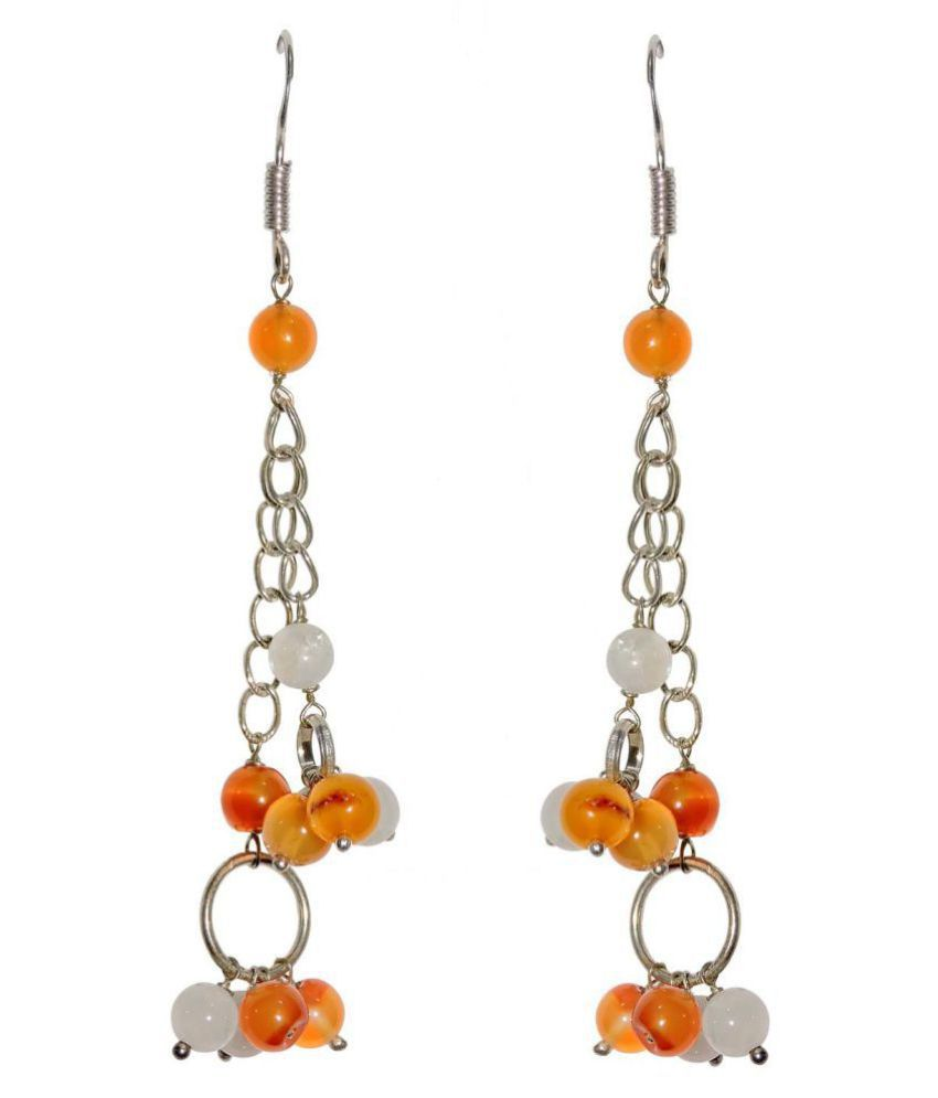 Satyamani Carnelian and Moonstone Semi-Precious Earrings